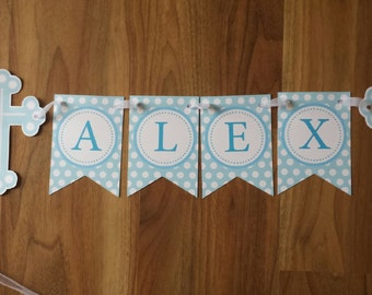 Christening Bunting Baptism Banner Boy Girl Custom made Holy Cross Personalized Name only Bunting Banner Christening Decoration