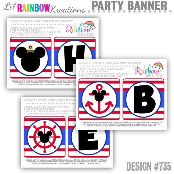 PRTYB-735: DIY - Nautical Mickey Mouse Party Banner - Instant Downloadable File