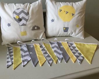 handmade nursery yellow grey Hot air balloon star cloud cushion covers & Bunting nursery chevron modern contemporary vintage