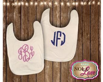 Monogrammed bib - embroidered bib - baby shower gift