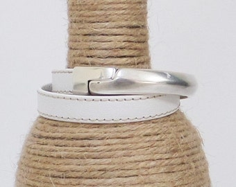 White leather double wrap bracelet, half cuff magnetic clasp