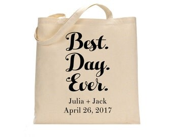 Best Day Ever Wedding Welcome Tote Bag, Welcome tote bag, Wedding tote bag, Guest tote bag, Wedding Canvas tote, Personalized tote, Wedding
