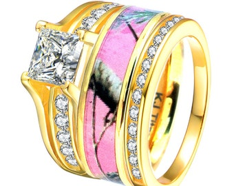 3 piece 14k gold plated sterling silver titanium pink camo wedding rings set - Camouflage Wedding Ring Sets