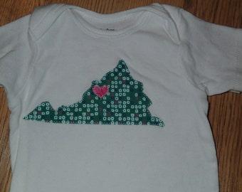 Virginia//Onesie//18 months//Baby//Green//Pink// Virginia Love