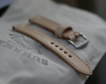 Handmade watch strap Italy veg tanned leather .