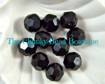 20mm black faceted bead, 10 pieces
