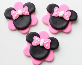 Minnie mouse cupcake toppers-minnie mouse party, minnie ears and bow cupcake toppers