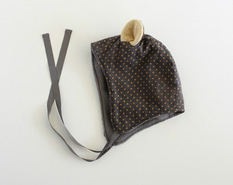 Bruin bonnet in Rockspot size medium (1-3 years) ready to ship