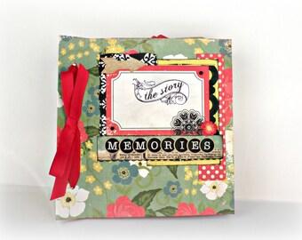 Retro mini album, Square 6x6 Scrapbooking album, Premade handmade photo album, Red floral Memories mini album, Mothers day gift