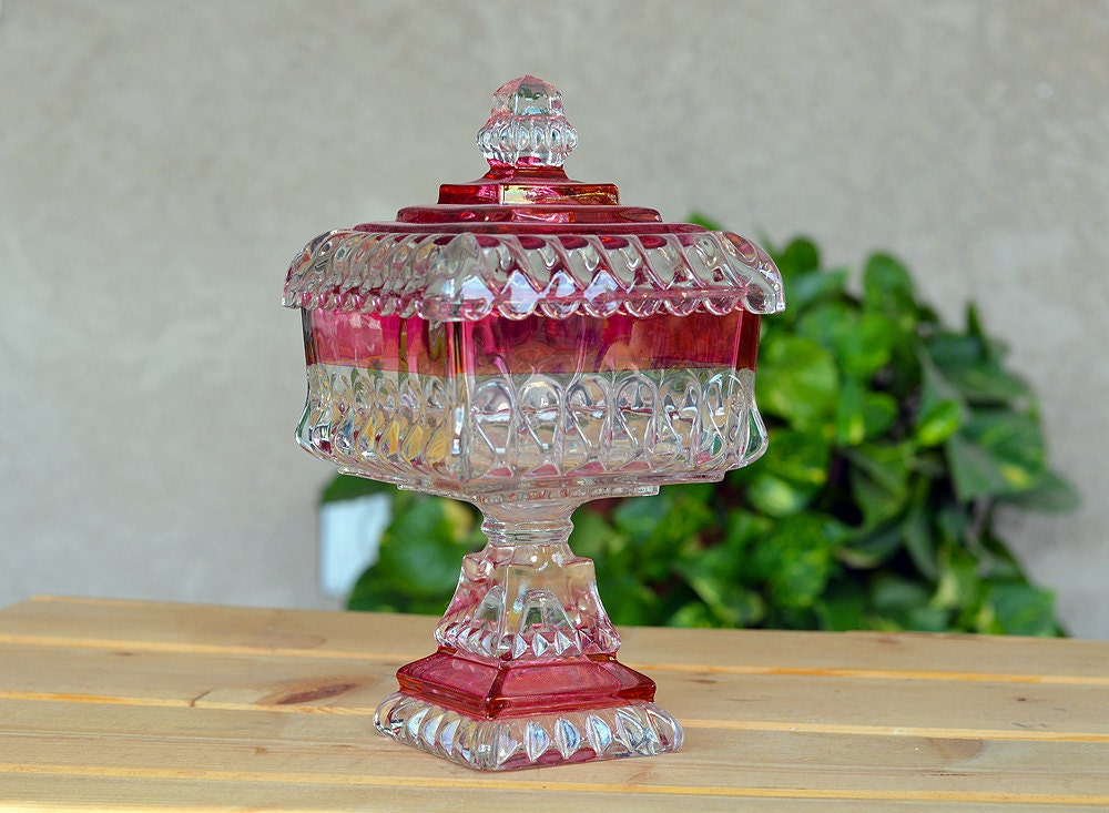 Vintage Westmoreland Cranberry Flashed Glass Pedestal Wedding