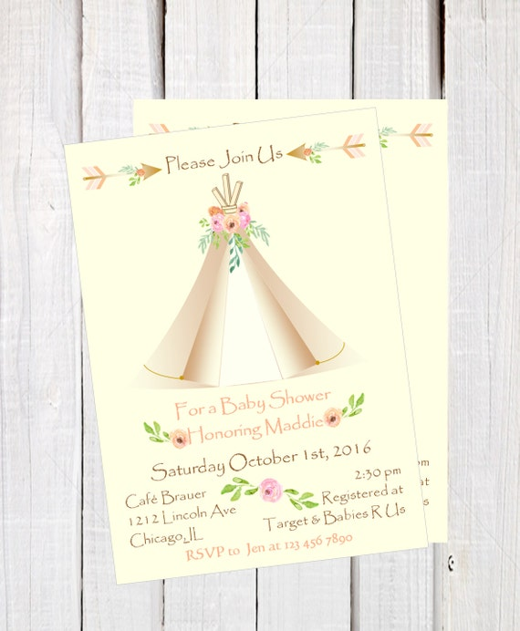 Tribal Baby Shower Invitation Boho Aztec Teepee