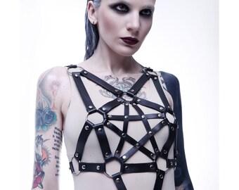 Women Leather Harness Pentagram | Женская портупея из натуральной кожи