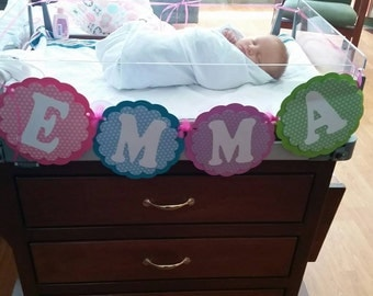 Personalized banner, hospital bassinet, baby shower, nusery, birthday.