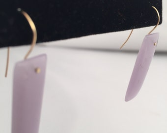 Lavender Chalcedony and 14K Earrings