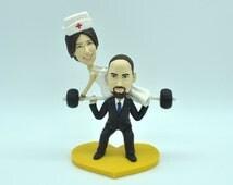 Doctor & Nurse Custom Wedding Cake Topper,gym weight bar cake topper