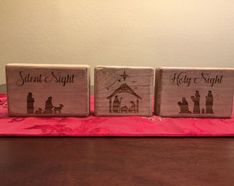 One of a kind nativity on wooden distressed blocks, free shipping to United States, FREE SHIPPING!