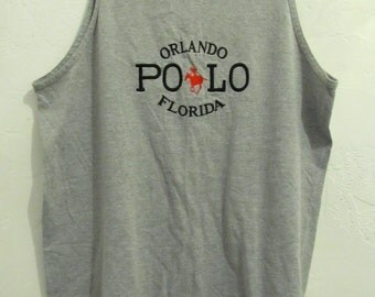 A Men's Vintage 90's,Gray Colored POLO Orlando Florida TANK TOP.L