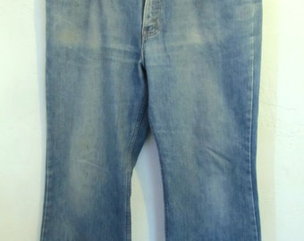 Men's Vintage 70's FADED Blue BELLBOTTOM Jeans By JCP.38x29