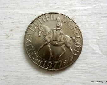 1977 Queens Silver Jubilee coin GB Crown Coin dg Reg FD Elizabeth on the horse silver jubilee queen EII english coin A00/275