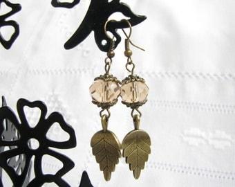 Leaf earrings Crystal leaf earrings Beige earrings Purple earrings White earrings Gift for her Woodland Wedding Copper leaf earrings Vintage