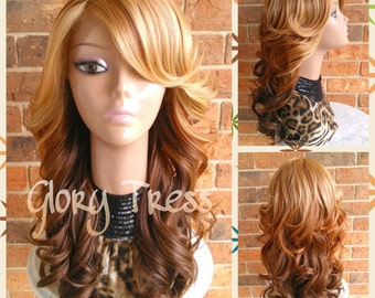 READY To SHIP// Celebrity Inspired Hairstyle, Curly Lace Front Wig, Ombre Blonde Wig, Side Swoop Bangs // LIVE (Free Shipping)