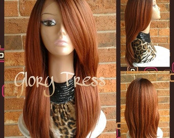 ON SALE // Long & Straight Lace Front Wig, 100% Human Hair Blend Wig, Ombre Copper Red Wig, Layered Wig // FLAWLESS1(Free Shipping)