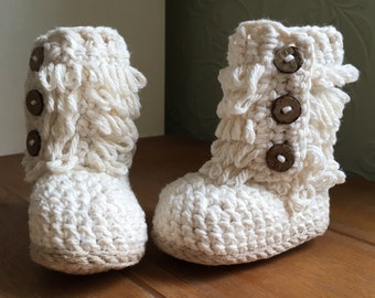 Made to order crochet loopy boots