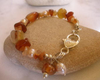 autumn tales carnelian beaded bracelet