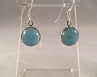 Sterling Silver Framed Blue Chalcedony Earrings