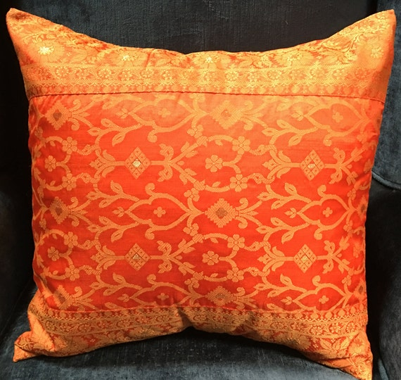 Decorative Pillows Trim : Fire Orange color Pillow cover with Trim by TaraDesignLA on Etsy