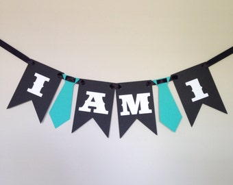 I am one mustache highchair banner - first birthday banner - mustache party - tie - bowtie - cake smash banner - garland