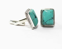 Awesome Turquoise Cufflinks 925 Sterling Silver Blue Handmade Mens Jewellery by AmoreIndia C256