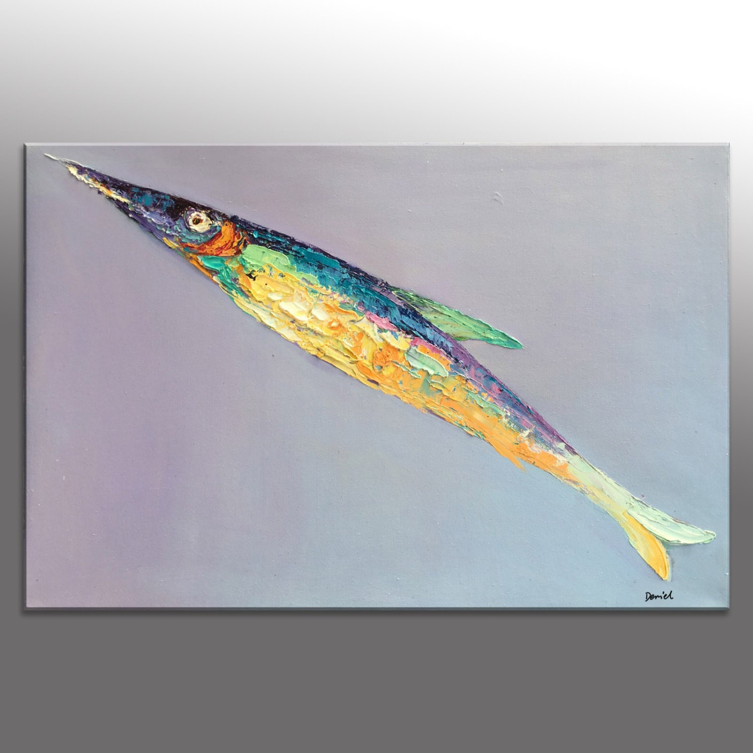 Wall decor bathroom wall art fish painting abstract oil for Fish wall decor