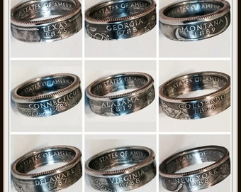Real U.S. Quarter Coin Rings. From years 1965 to 2008 and from all States