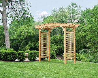 Pressure Treated Pine *UNFINISHED* Brandywine Arbor 9ft Wide - Trellis Sides - Garden Entrance - Amish Made in the USA