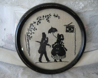 Vintage antique ~ embroidered silhouette image in 1923 in original frame silhouette embroidery