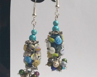 "earrings, lampwork ""Botany 9"""