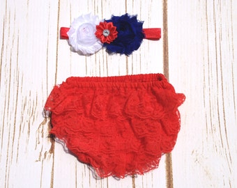 Baby Girl Holiday Red Lace Diaper Cover/Bloomer, 4th of July, Christmas, Valentine's Day Lace Diaper Cover