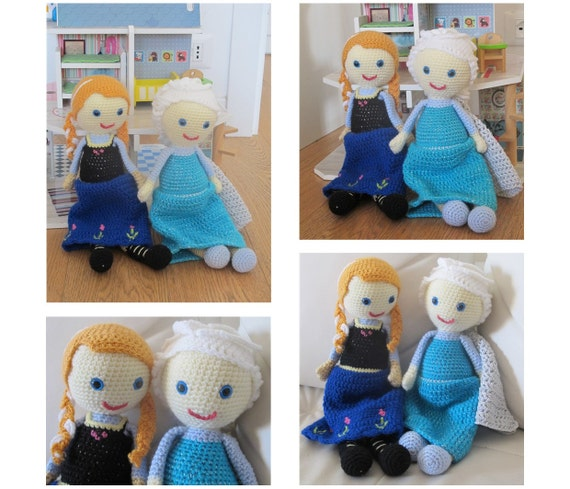 Amigurumi Anna Y Elsa : Elsa & Anna - Crochet doll pattern - Amigurumi pattern ...