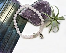 Witches Knot & Mini Cauldron Bracelet | Genuine Rose Quartz, Silver Celtic Charm, Silver Cauldron Charm | Free Shipping