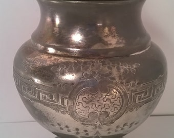 Redfield & Rice Silver Plated Etched Candy Jar With Lid