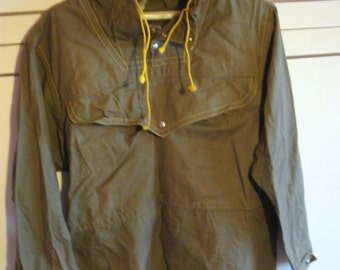 Vintage Green Мen's Canvas Anorak with Hood /Military Army Anorak/ Front Pocket/1980s/Unused