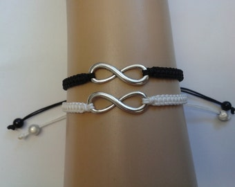 Couples infinity bracelets - black and white - infinity loop - couples jewellery - His and hers jewelry - monochrome jewelry - friendship