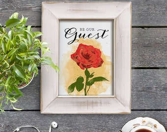 Instant Download Beauty and the Beast Be Our Guest 8x10 inch Poster Print - P1203