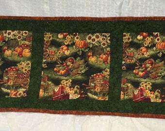 Fall Autumn Fruitful Harvest Wheelbarrow Baskets Apples Pumpkins Corn Wheat Grapes Sunflowers Mini Quilt Table Runner Home Decor