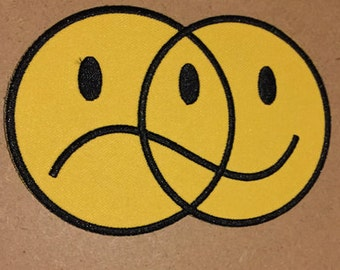 "Happy Sad Venn Diagram embroidered patch 4.5"" wide bipolar yellow punk"