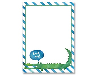 Alligator Thank You Card coordinates with Swamp Party Invitation Printable Boy Birthday