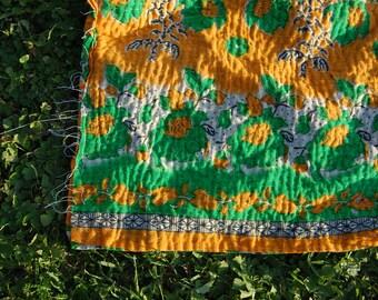 KARMA - artisan KANTHA quilt COVERLET / bright colourful vintage bohemian / sari blanket bedding large