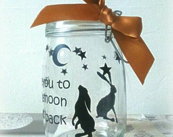 moon gazing hare, love you to the moon and back,gifts for children, gifts for her,flower girl gift,Christmas gift, moon and stars, lights