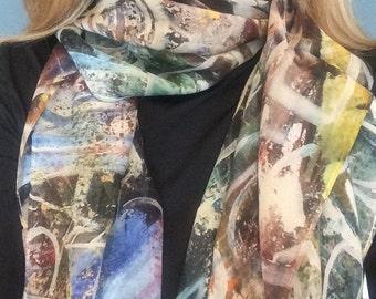 Silk Scarf, Gift, Unique Gift, earth tones, colorful, 38x38, unique artwork, Chicago skyline, Free shipping giftbox